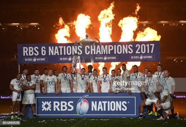Captain Dylan Hartley of England lifts the Six nations trophy following the RBS Six Nations match between Ireland and England at the Aviva Stadium on...