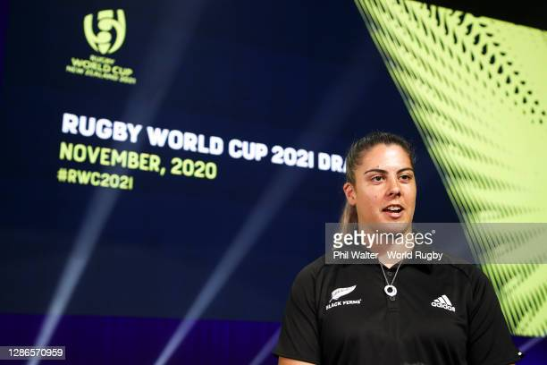 Captain Eloise Blackwell of the Black Ferns looks on during the Rugby World Cup 2021 Draw event at the SKYCITY Theatre on November 20, 2020 in...