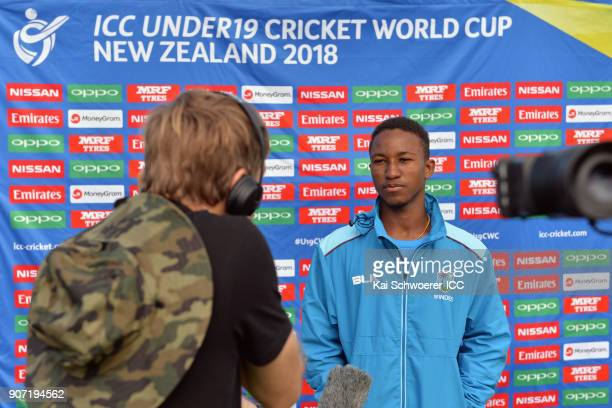 Captain Emmanuel Stewart of the West Indies speaks to the media prior to the ICC U19 Cricket World Cup match between the West Indies and Kenya at...