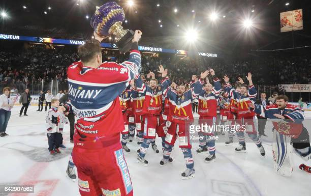Captain Eric Chouinard of Grenoble celebrate the French cup with teammattes during the French Cup finale Hockey match between Dragons de Rouen vs...