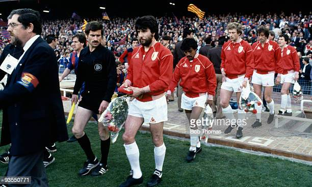 Captain Eric Gerets leads the Standard Liege team onto the field prior to the European Cup Winners Cup Final against Barcelona held at the Nou Camp...