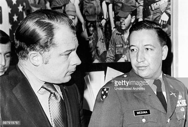 Captain Ernest Medina , commander of the infantry company involved in the alleged Song My massacre, leaves a closed hearing at the Pentagon with his...