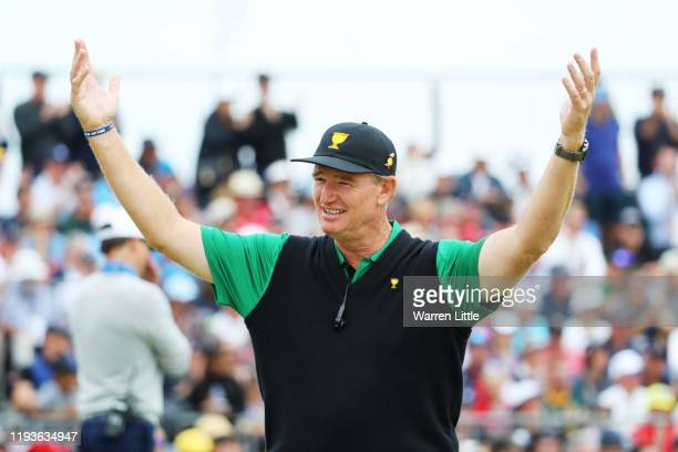 Captain Ernie Els of South Africa and the International team looks on during Friday foursome matches on day two of the 2019 Presidents Cup at Royal...
