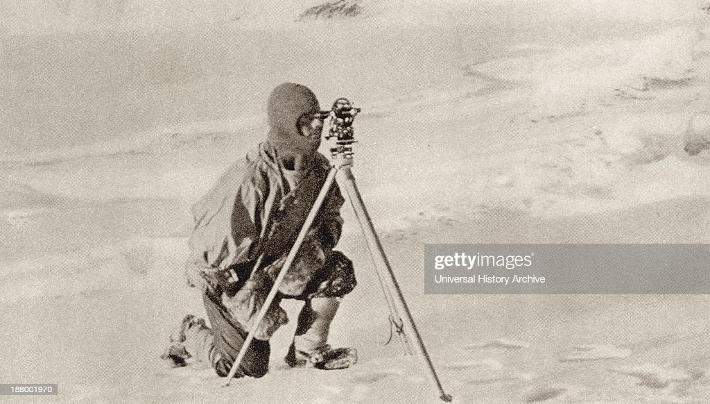 Captain Evans Observing With The Theodolite Used By Captain Scott To Fix Position Of The South Pole : News Photo