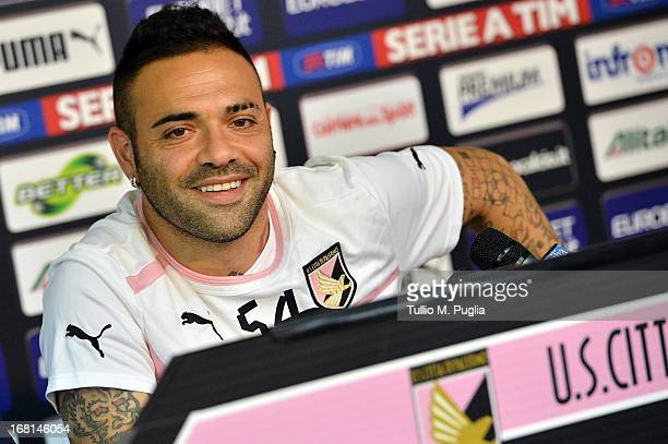 Captain Fabrizio Miccoli of Palermo answers questions during a press conference at Campo Tenente Onorato on May 6, 2013 in Palermo, Italy.