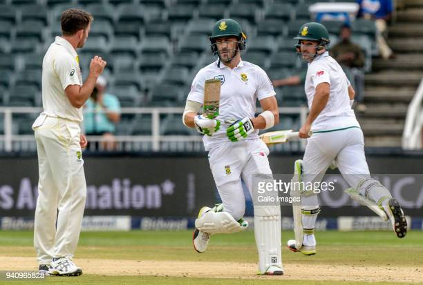 Captain Faf du Pklessis and Dean Elgar of South Africa during day 4 of the 4th Sunfoil Test match between South Africa and Australia at Bidvest...