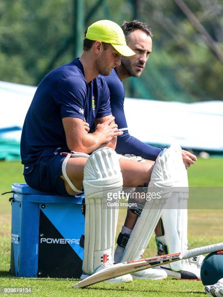 Captain Faf Du Plessis looks on during the South Africa training session at Bidvest Wanderers Stadium on March 29 2018 in Johannesburg South Africa