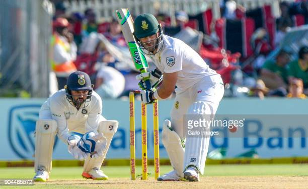Captain Faf du Plessis of South Africa and wicketkeeper Parthiv Patel of India during day 1 of the 2nd Sunfoil Test match between South Africa and...