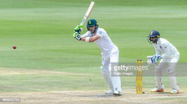 Captain Faf du Plessis of South Africa and wicketkeeper Parthiv Patel of India during day 4 of the 2nd Sunfoil Test match between South Africa and...
