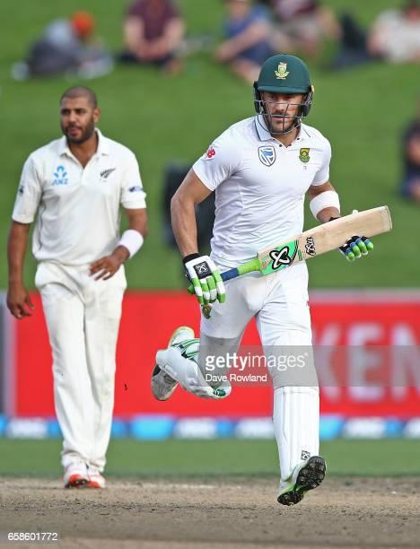 Captain Faf du Plessis of South Africa bats during day four of the Test match between New Zealand and South Africa at Seddon Park on March 28 2017 in...