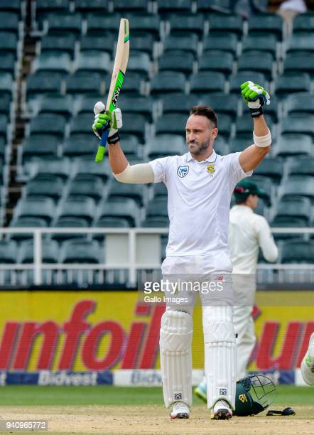 Captain Faf du Plessis of South Africa celebrates his 100 runs during day 4 of the 4th Sunfoil Test match between South Africa and Australia at...