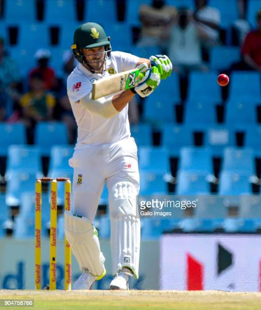 Captain Faf du Plessis of South Africa during day 2 of the 2nd Sunfoil Test match between South Africa and India at SuperSport Park on January 14...