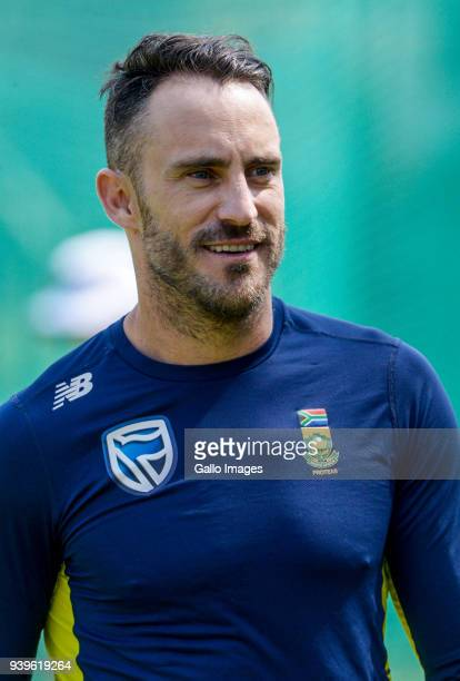 Captain Faf du Plessis of the Proteas during the South Africa training session at Bidvest Wanderers Stadium on March 29 2018 in Johannesburg South...