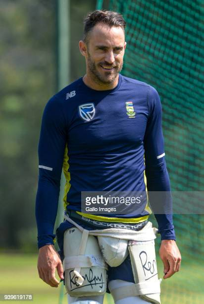 Captain Faf du Plessis of the Proteas looks on during the South Africa training session at Bidvest Wanderers Stadium on March 29 2018 in Johannesburg...
