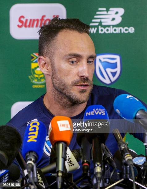 Captain Faf Du Plessis takes questions from the media during the South Africa cricket press conference at Bidvest Wanderers Stadium on March 29 2018...