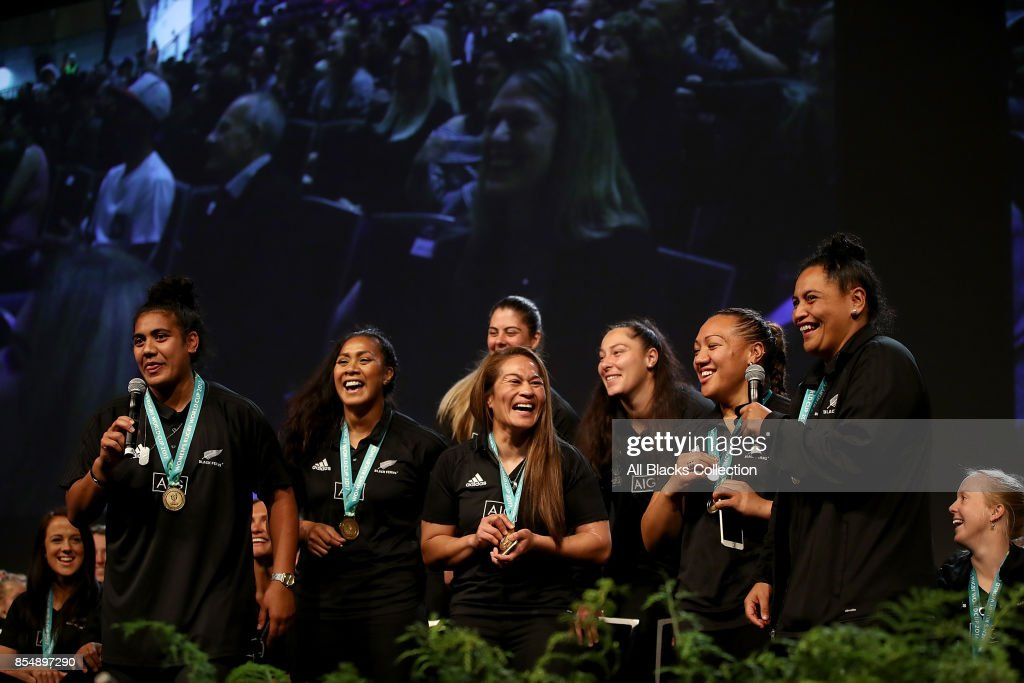Captain Fiao'o Fa'amusili and members of the Black Ferns sing on stage during the New Zealand Black Ferns celebration at Vodafone Events Centre on September 28, 2017 in Manukau City, New Zealand. The New Zealand Black Ferns continue celebrations for their 2017 Rugby World Cup win.