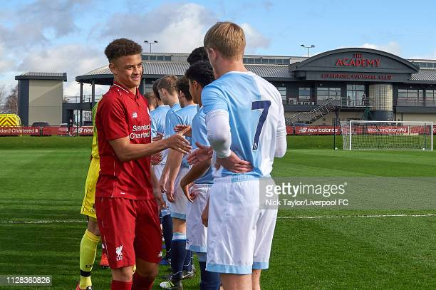 Captain Fidel O'Rourke of Liverpool during the handshake before the U18 Premier League game at The Kirkby Academy on March 2 2019 in Kirkby England