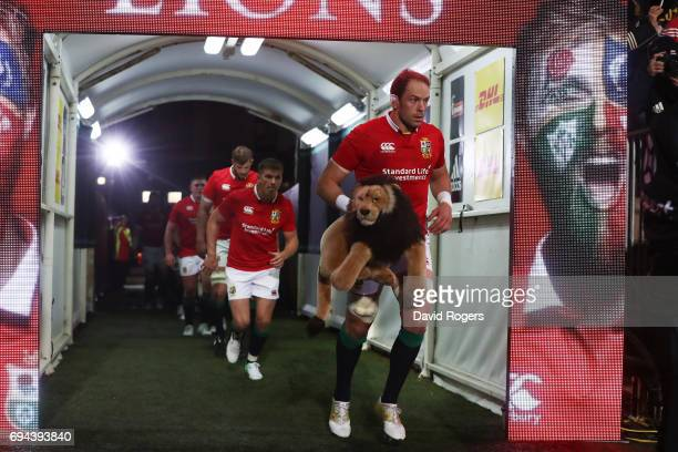 Captain for the day AlunWyn Jones of the Lions leads out his team prior to kickoff during the 2017 British Irish Lions tour match between the...