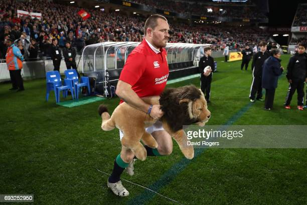 Captain for the evening Ken Owens of the British Irish Lions leads out his team prior to kickoff during the 2017 British Irish Lions tour match...