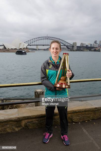 Captain for the upcoming Ashes series Rachel Haynes during the Australian Ashes Squad Announcement at Mrs Macquarie's Chair on October 10 2017 in...
