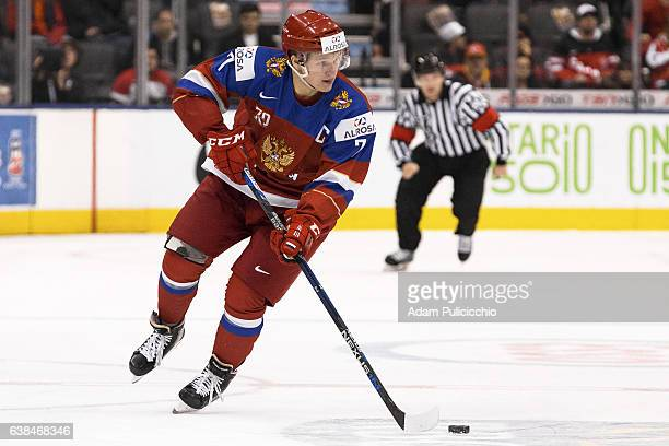 Captain forward Kirill Kaprizov of Team Russia skates with the puck through the neutral zone against Team Slovakia in a preliminary round Group B...