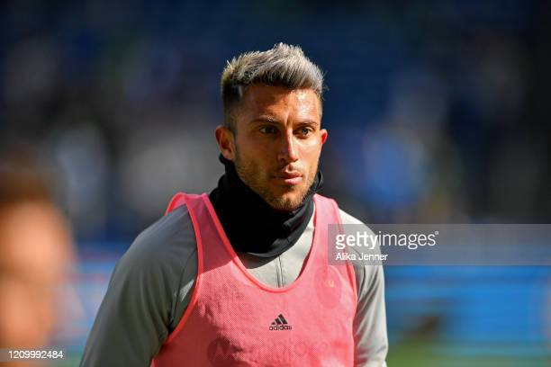 Captain Francisco Calvo of Chicago Fire warms up before the match against the Seattle Sounders at CenturyLink Field on March 01, 2020 in Seattle,...