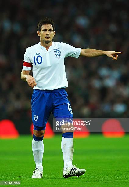 Captain Frank Lampard of England gestures during the international friendly match between England and Spain at Wembley Stadium on November 12 2011 in...