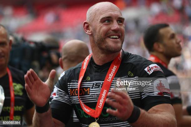 Captain Gareth Ellis celebrates after winning during Hull FC v Wigan Warriors in the Ladbrokes Challenge Cup at Wembley Stadium on August 26 2017 in...