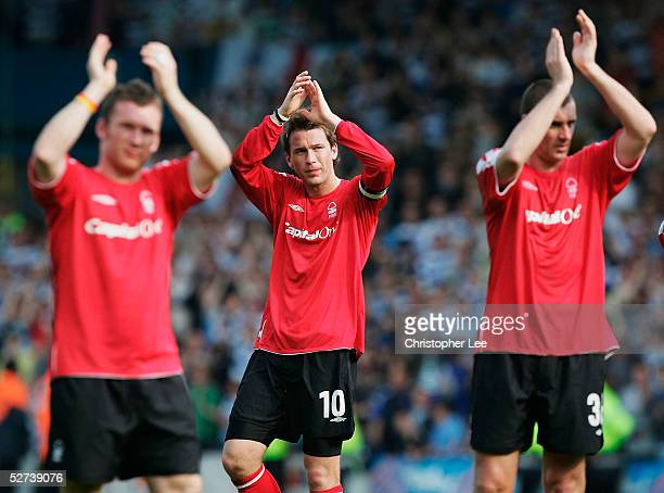 Captain Gareth Taylor applauds the fans after they lose during the CocaCola Championship match between Queens Park Rangers and Nottingham Forest at...