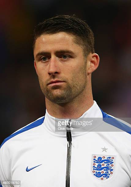 Captain Gary Cahill of England looks on prior to the UEFA EURO 2016 Group E qualifying match between England and Estonia at Wembley on October 9 2015...