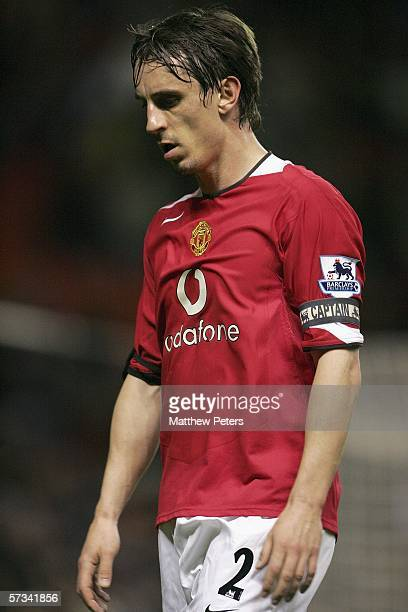 Captain Gary Neville of Manchester United looks disappointed at the final whistle of the Barclays Premiership match between Manchester United and...