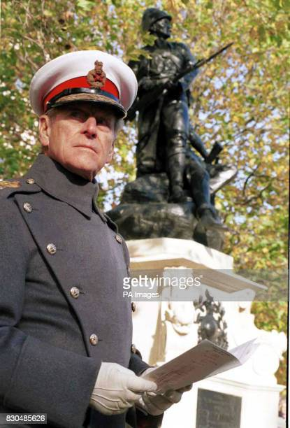 Captain General of the Royal Marines, the Duke of Edinburgh during the unveiling of the Royal Marines National Memorial in London. The service and...