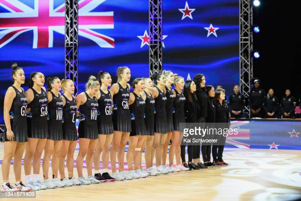 Captain Gina Crampton of New Zealand and her team mates line up for their national anthem prior to game one of the Cadbury Netball Series between the...