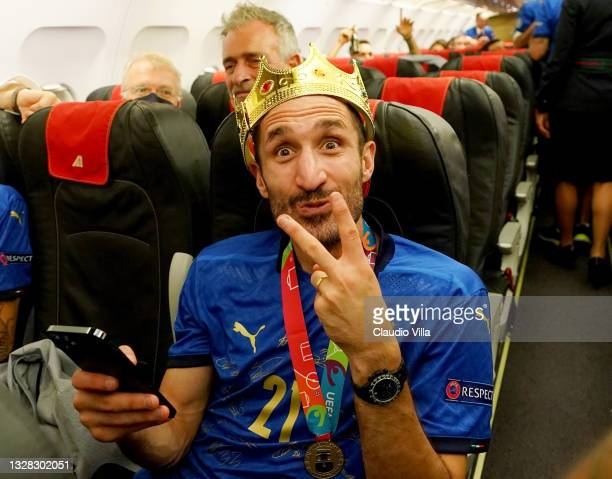 Captain Giorgio Chiellini is seen on the plane during the travel back to Rome following the Euro 2020 victory on July 12, 2021 in Rome, Italy.