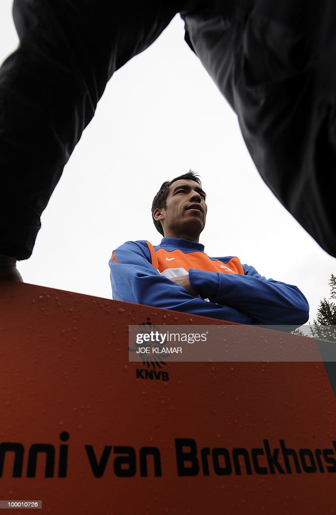 Captain Giovanni Van Brockhorst speaks to journalists during the Dutch national football team's first practice at their training camp in Tyrolian village in Seefeld on May 20, 2010, prior to the FIFA World cup 2010 in South Africa.
