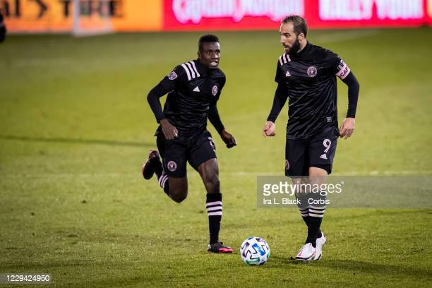 Captain Gonzalo Higuain of Inter Miami CF and Blaise Matuidi of Inter Miami CF take the ball down the pitch in the second half of the Major League...
