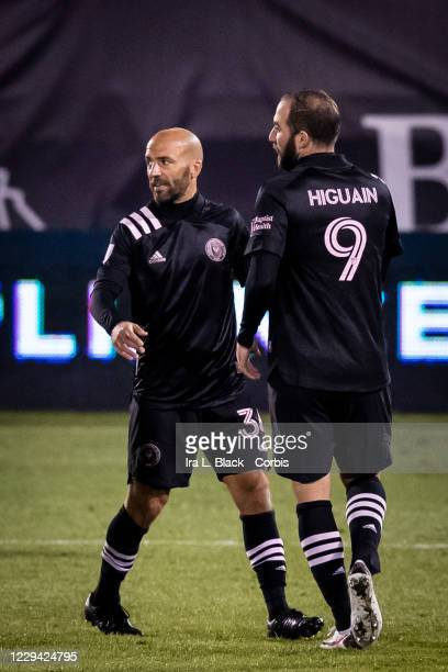 Captain Gonzalo Higuain of Inter Miami CF and his brother Federico Higuain of Inter Miami CF share the pitch in the second half of the Major League...