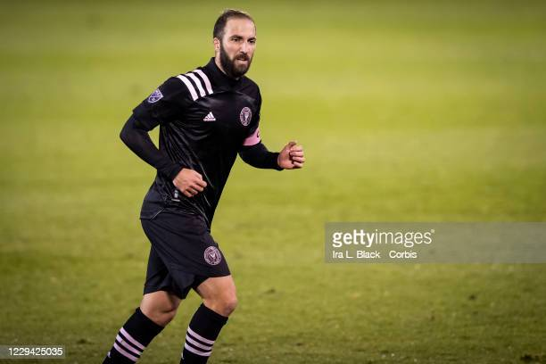 Captain Gonzalo Higuain of Inter Miami CF cuts across the pitch in the second half of the Major League Soccer match against Toronto FC in Pratt &...