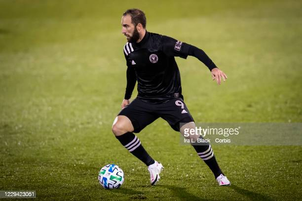 Captain Gonzalo Higuain of Inter Miami CF cuts back across the pitch in the second half of the Major League Soccer match against Toronto FC in Pratt...