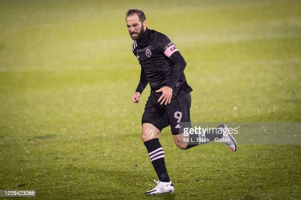 Captain Gonzalo Higuain of Inter Miami CF grits it out in the rain in the second half of the Major League Soccer match against Toronto FC in Pratt &...