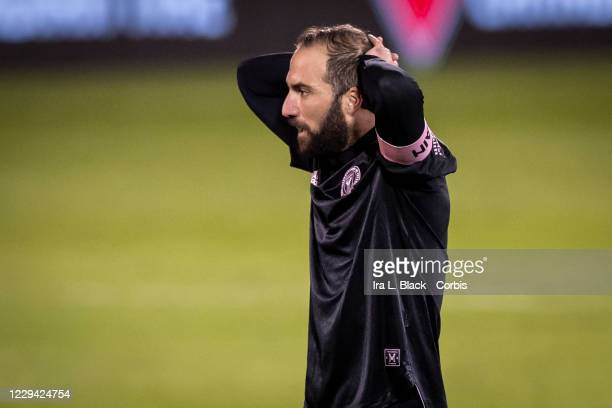 Captain Gonzalo Higuain of Inter Miami CF has his hands behind his back in frustration in a missed goal in the second half of the Major League Soccer...