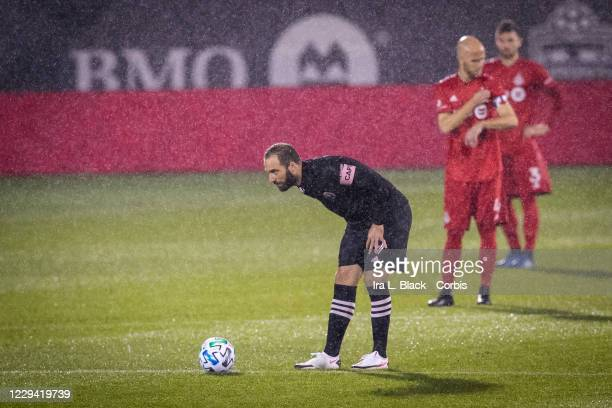 Captain Gonzalo Higuain of Inter Miami CF lines up for the kick off to start the Major League Soccer match against Toronto FC in Pratt & Whitney...