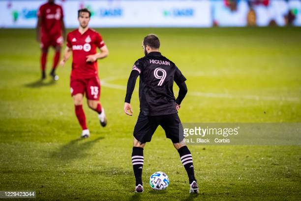 Captain Gonzalo Higuain of Inter Miami CF looks for someone to pass to rain in the second half of the Major League Soccer match against Toronto FC in...