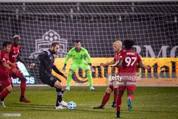 Captain Gonzalo Higuain of Inter Miami CF maneuvers in front of the goal in the first half of the Major League Soccer match against Toronto FC in...