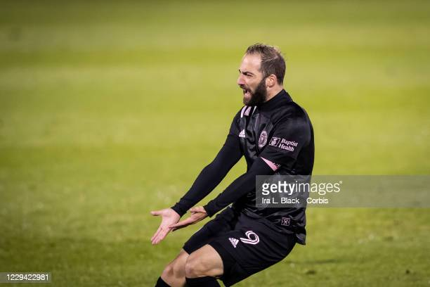 Captain Gonzalo Higuain of Inter Miami CF reacts to a missed call and missed shot on goal in the second half of the Major League Soccer match against...