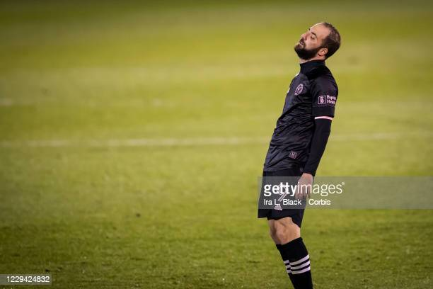 Captain Gonzalo Higuain of Inter Miami CF reacts to losing the Major League Soccer match against Toronto FC in Pratt & Whitney Stadium at Rentschler...