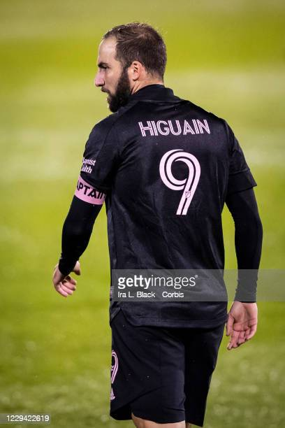 Captain Gonzalo Higuain of Inter Miami CF walks back after a missed shot on goal in the rain in the second half of the Major League Soccer match...