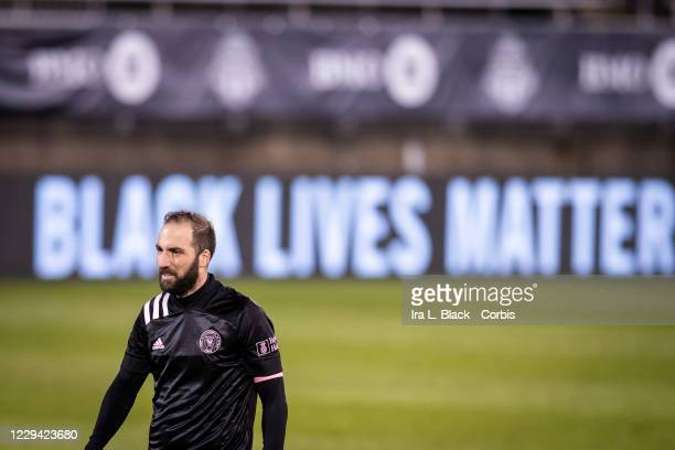 Captain Gonzalo Higuain of Inter Miami CF with a Black Lives Matter message on the digital board in the second half of the Major League Soccer match...