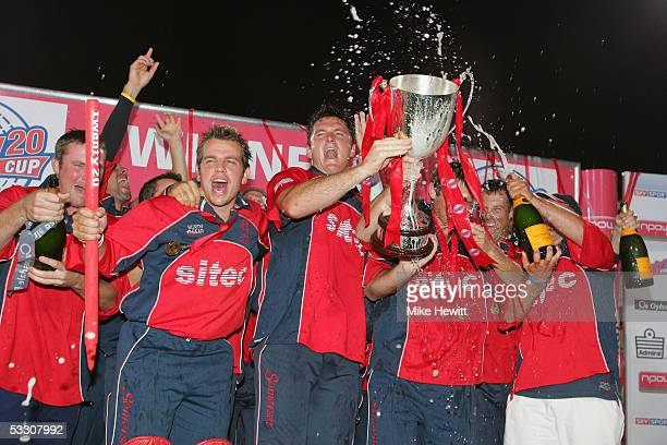 Captain Graeme Smith and his Somerset team-mates celebrate victory in the Twenty20 Cup Final between the Somerset Sabres and Lancashire Lightning at...