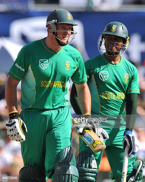 Captain Graeme Smith and Loots Bosman of South Africa chat during the 2nd Twenty20 international match between South Africa and England at SuperSport...